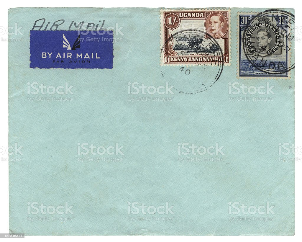 Airmail envelope from Kenya-Uganda-Tanganyika 1940 stock photo