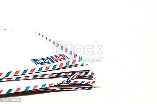 istock Airmail envelopes on white background 806725608