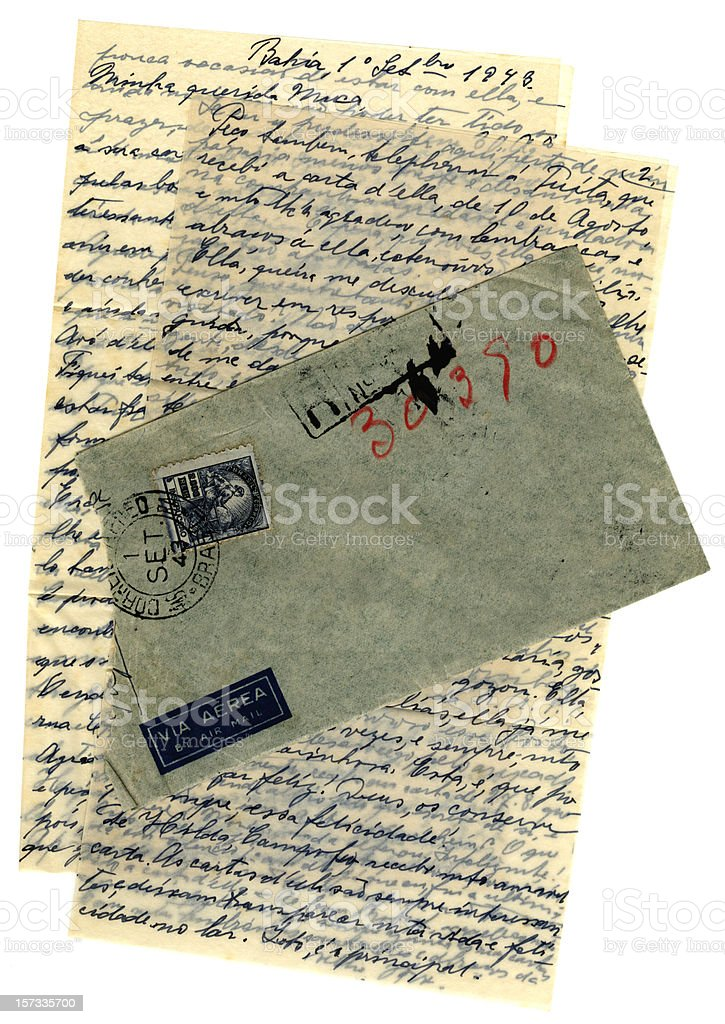 Airmail letter from Brazil, 1943 royalty-free stock photo
