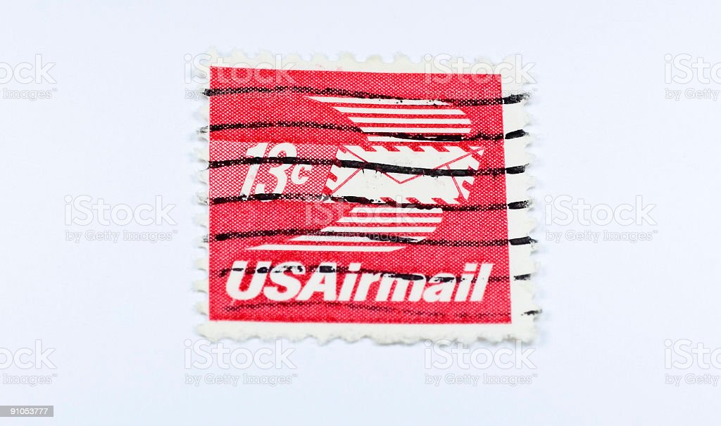 US Airmail postage stamp royalty-free stock photo