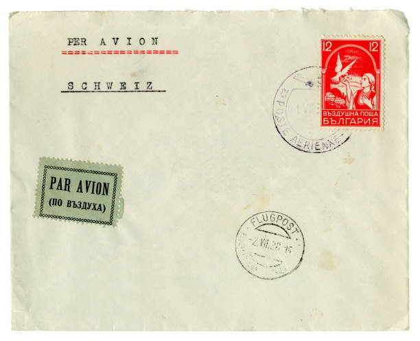 Airmail stamped envelope from Bulgaria to Switzerland, 1938 stock photo