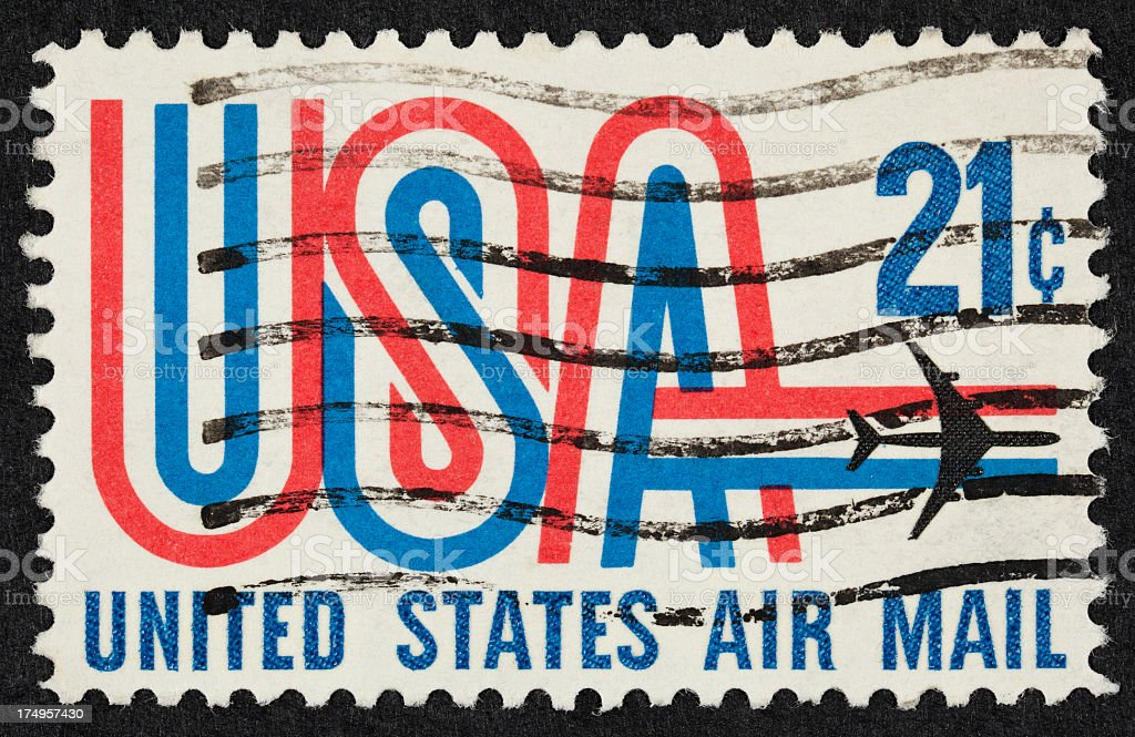 Airmail stamps from USA royalty-free stock photo