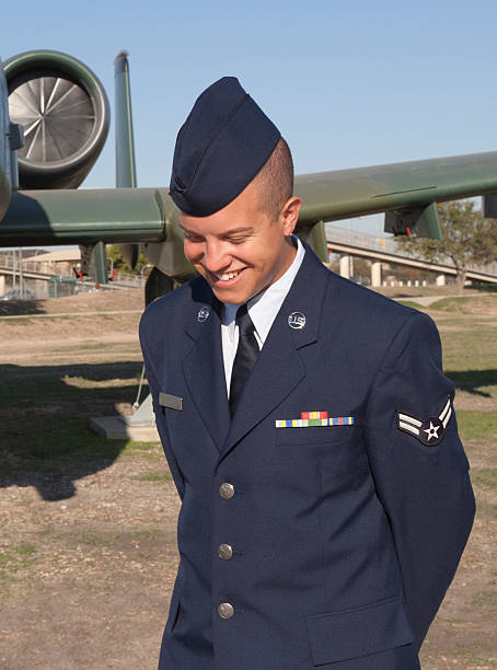 Airman in Uniform with a Casual Unposed Smile stock photo