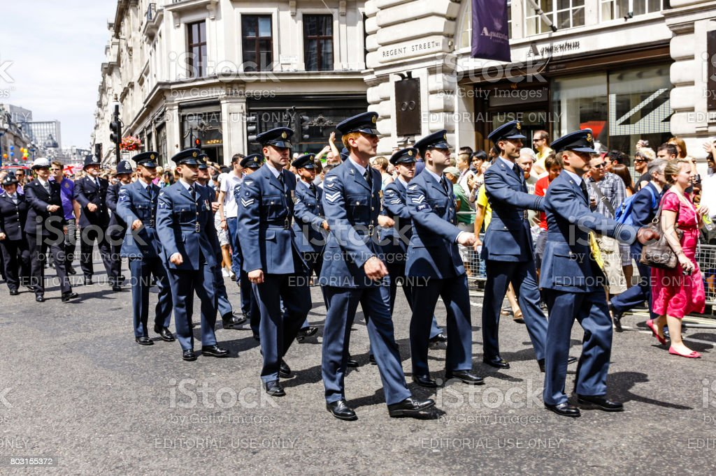 Airmen of the RAF march in the Armed Forces day parade in London UK stock photo