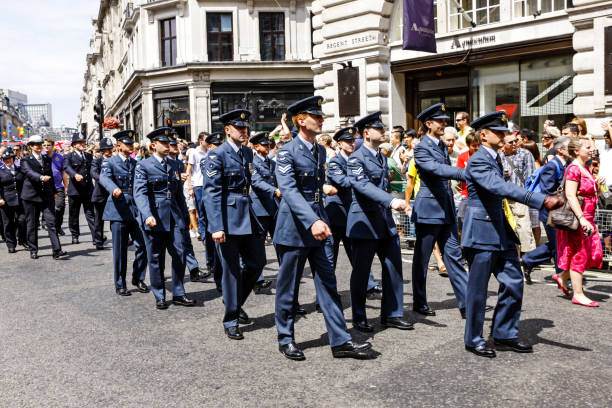 airmen of the raf march in the armed forces day parade in london uk - uk military stock photos and pictures