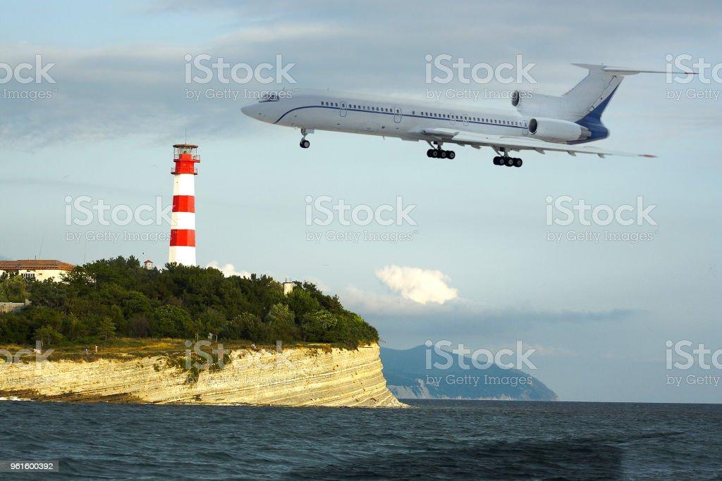 Airplain flies to the aeroport stock photo