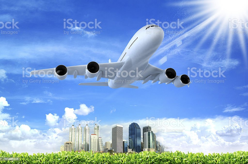 Airplane above the clouds royalty-free stock photo