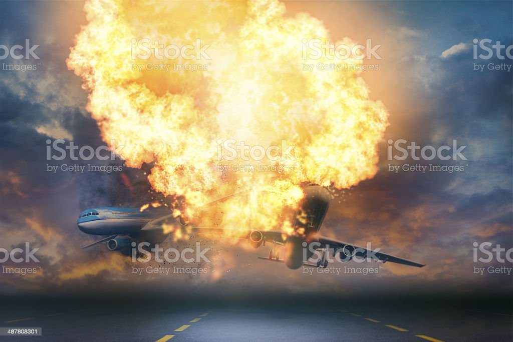 Airplane accident at the airport stock photo