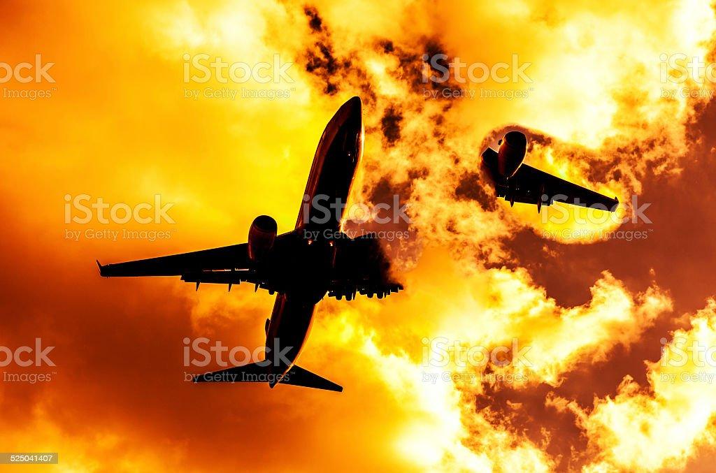 Airplane accident stock photo