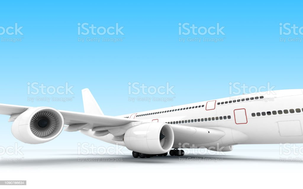 Airplane Airbus A380 Ready To Takeoff Isolated On Blue