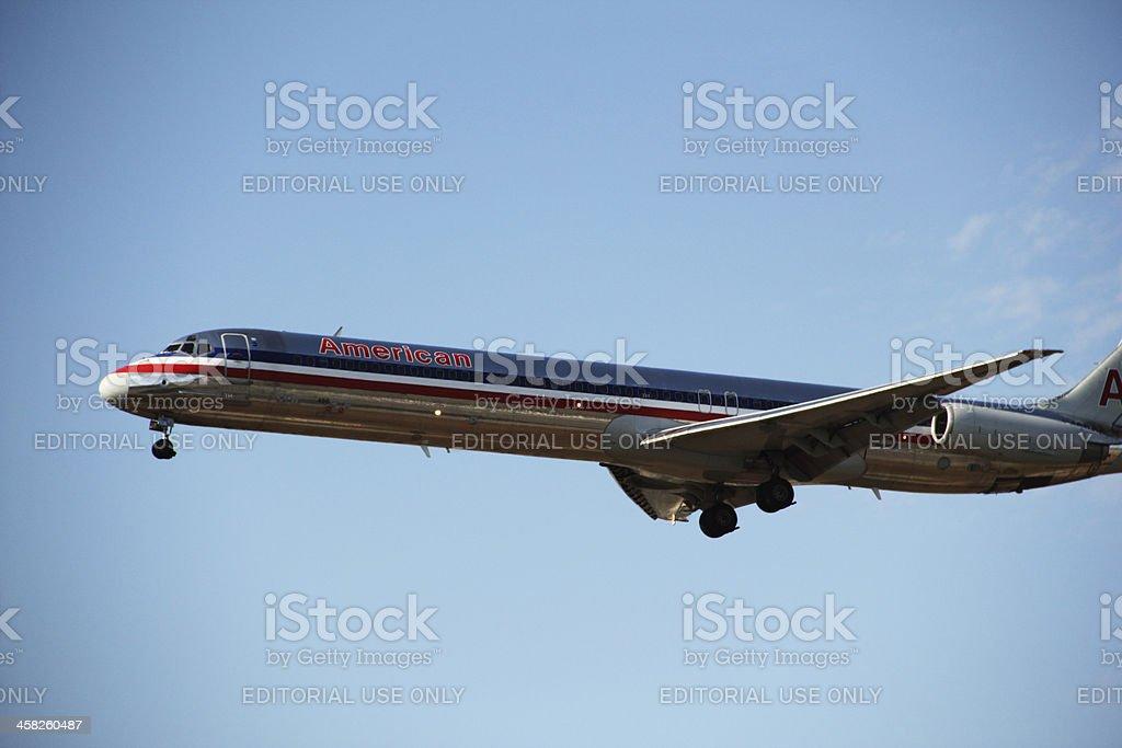 Airplane American Plane Sky Landing royalty-free stock photo