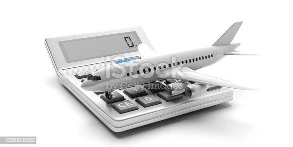 istock Airplane and a calculator isolated on white background. 3d illustration 1036926332
