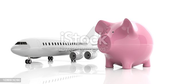 istock Airplane and a piggy bank isolated on white background. 3d illustration 1036926260