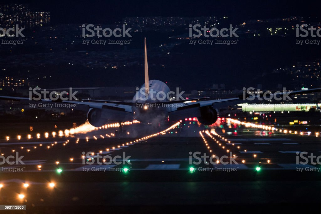 Airplane and airport and light. stock photo