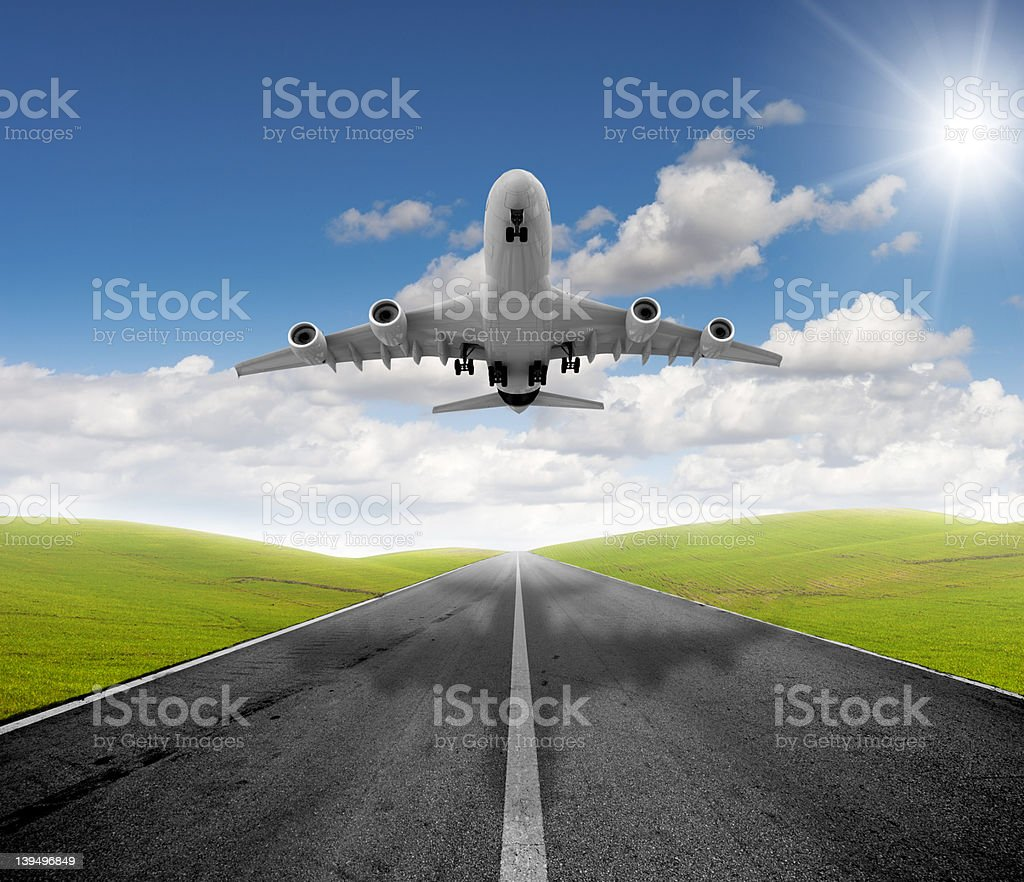 Airplane and departure royalty-free stock photo