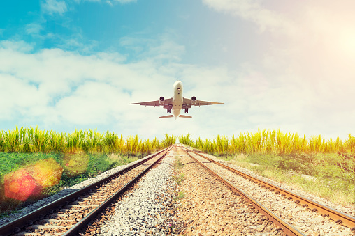 Airplane And Railway At Sunset Travel Or Transporttation Backgr Stock Photo - Download Image Now