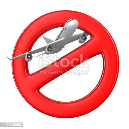 istock airplane and sign forbidden on white background. Isolated 3D illustration 1158048595