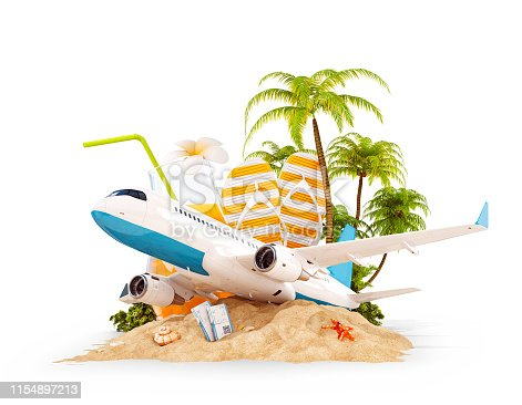istock airplane and tropical palm on a paradise island 1154897213