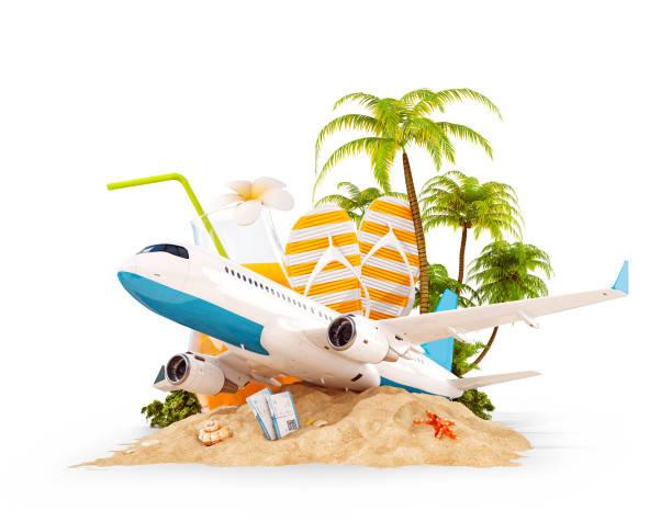 Flugzeug und tropische Palme auf einer paradiesischen Insel – Foto