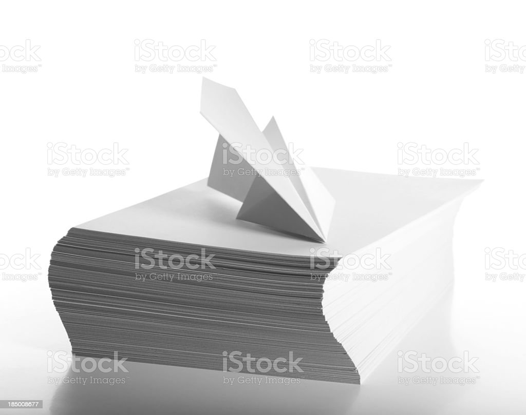 Airplane and white papers royalty-free stock photo