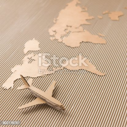 istock Airplane and world map 502116751