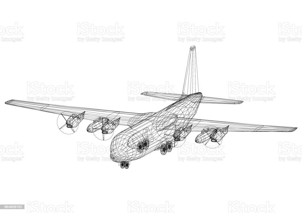 Airplane Architect blueprint - isolated royalty-free stock photo