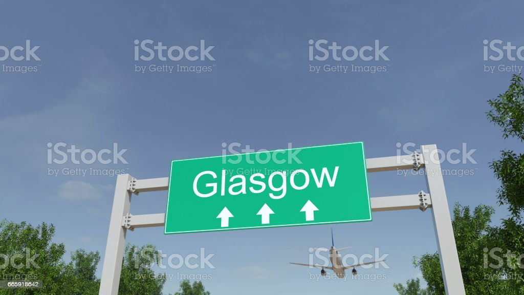 Airplane arriving to Glasgow airport. Travelling to United Kingdom conceptual 3D rendering foto stock royalty-free