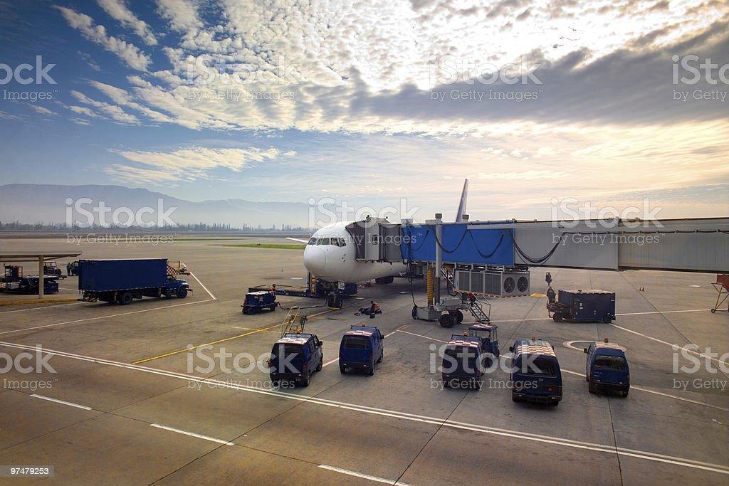 Airplane at airport stock photo