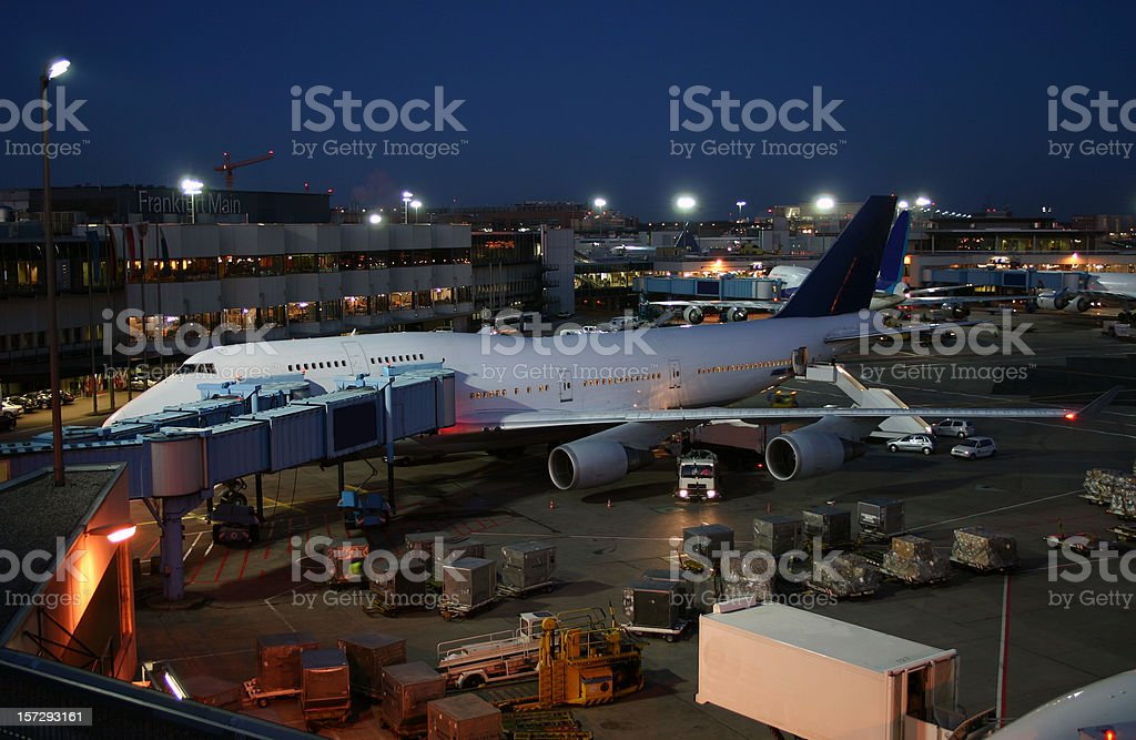 Airplane at dawn royalty-free stock photo