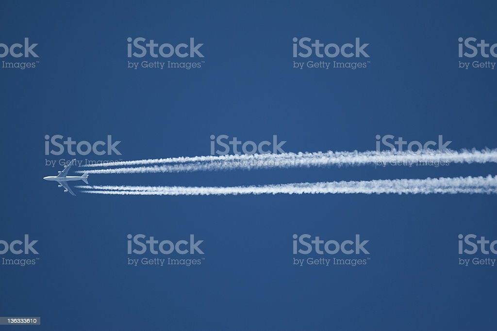 Airplane at High Altitude royalty-free stock photo