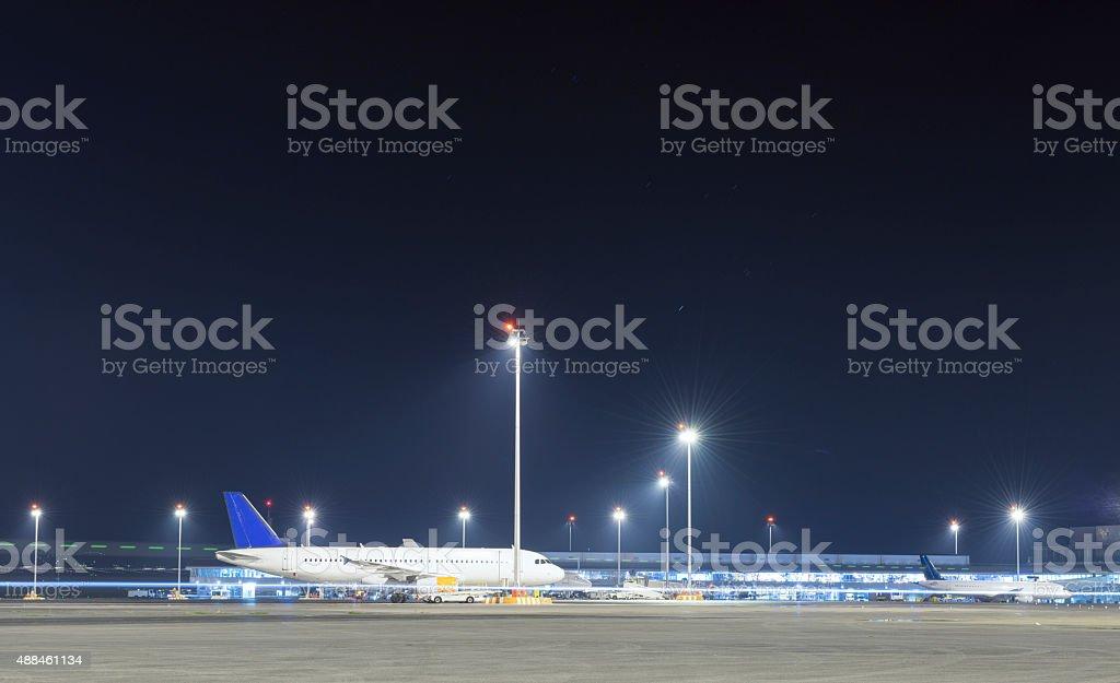 Airplane at Night stock photo