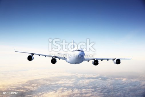 155380716 istock photo Airplane at sunset 187328248