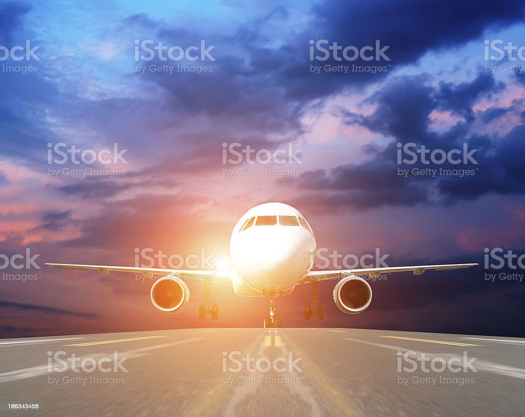 airplane at takeoff seen from the bottom royalty-free stock photo
