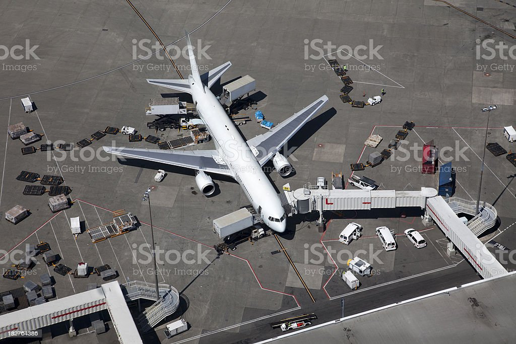 Airplane at the Gate, Aerial View stock photo