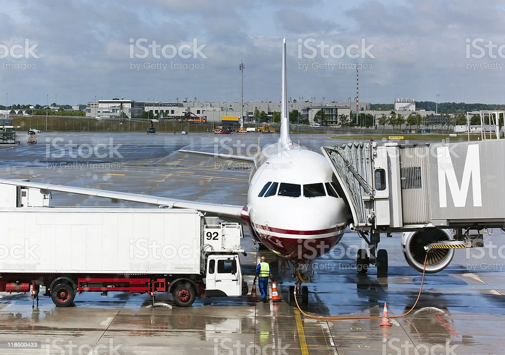airplane at the gate in preparation for next flight stock photo