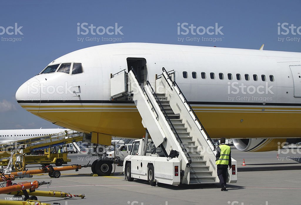 Airplane at the gate royalty-free stock photo
