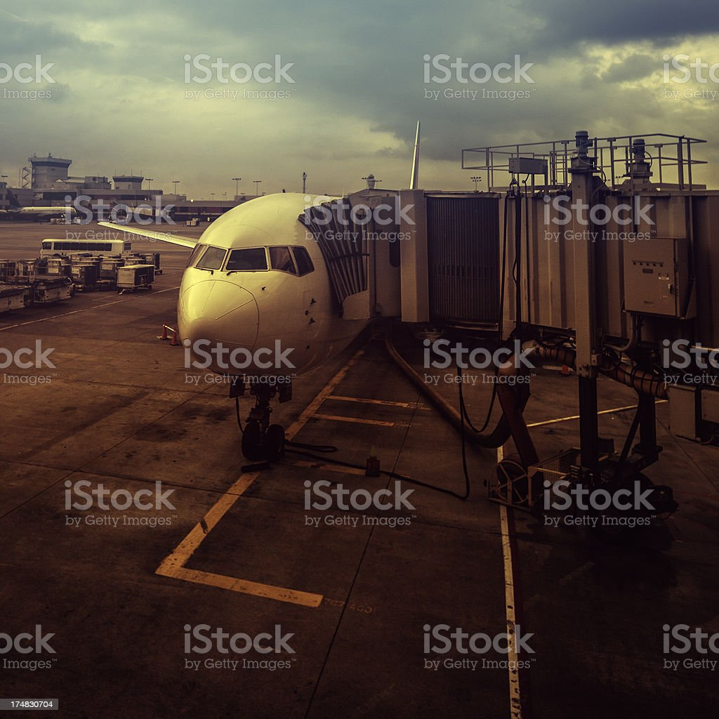 airplane at the gate stock photo