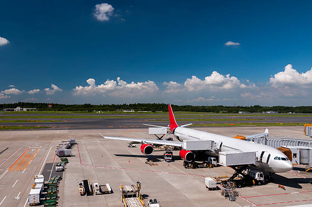 airplane at the narita airport, japan - mahroch stock pictures, royalty-free photos & images
