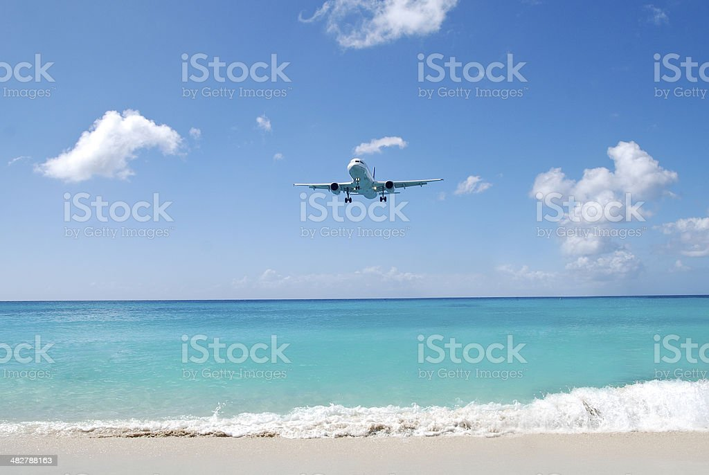 Airplane at the sea side, in St. Maarten stock photo