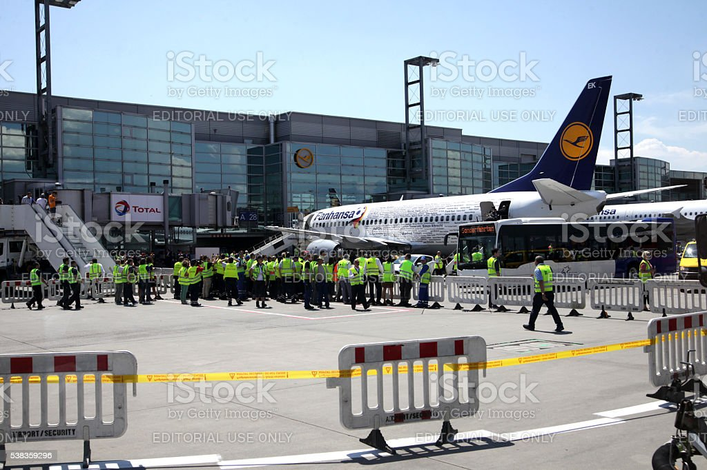Airplane awaiting Germany national soccer team for trip to France stock photo