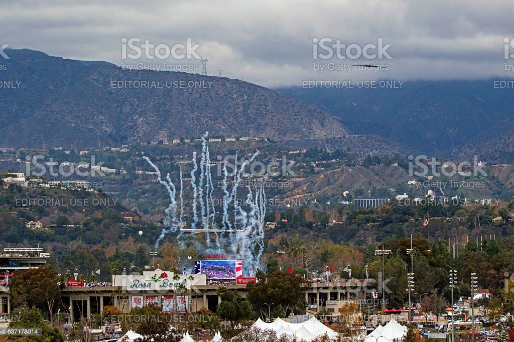 Airplane B2 bomber fly-over at 2017 Rose Bowl Game stock photo