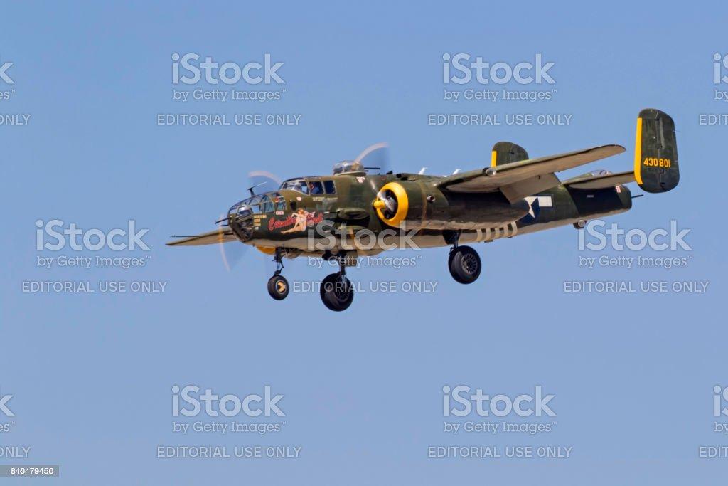 Airplane B-25 Mitchell WWII bomber aircraft stock photo