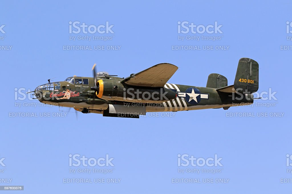 Airplane B-25 Mitchell WWII vintage aircraft stock photo