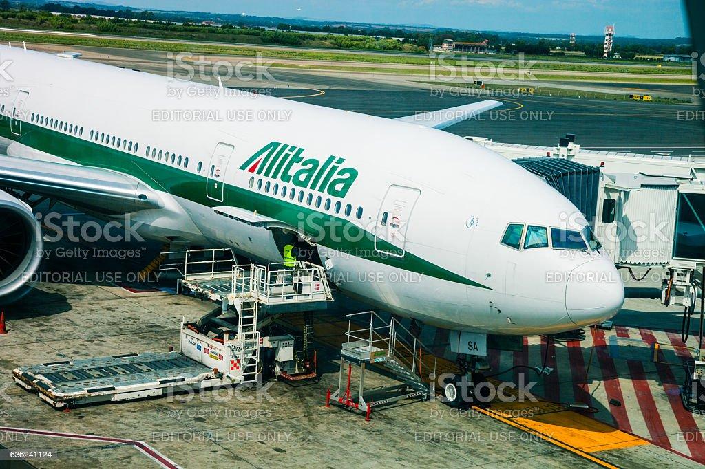 Aeroplano prima della partenza - foto stock