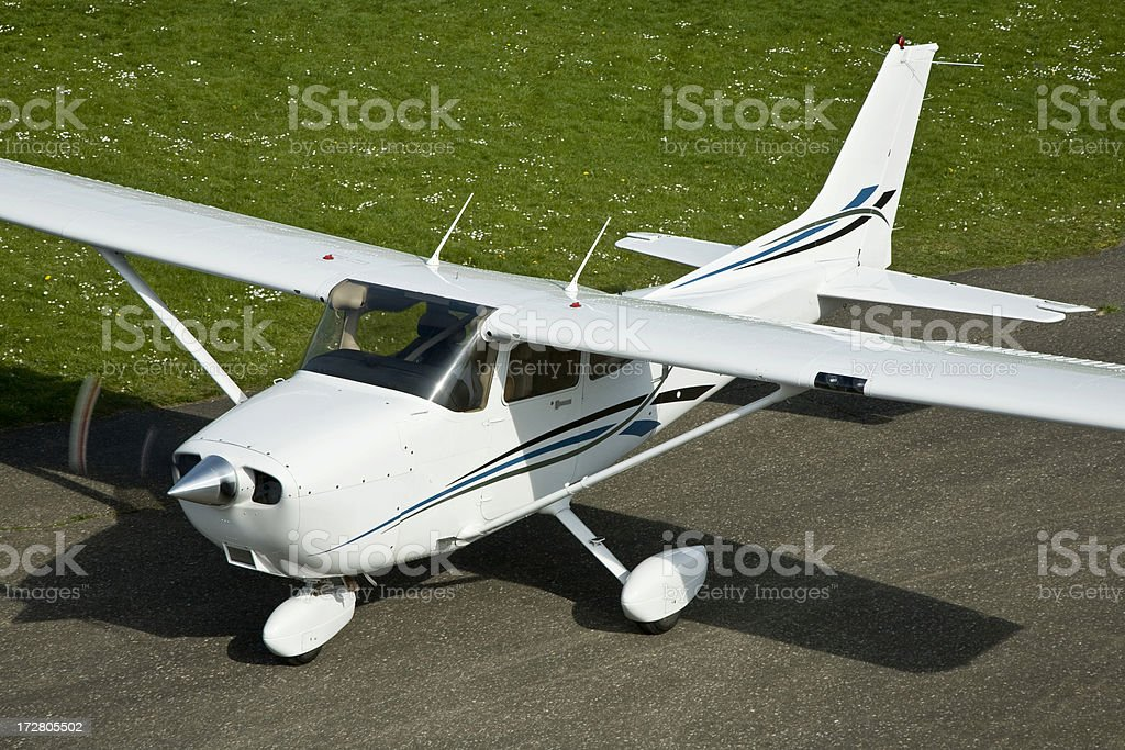Airplane before take-off stock photo