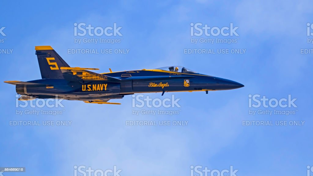 Airplane Blue Angels F-18 Hornet jet fighter stock photo