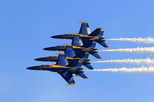 airplane blue angels f-18 jet fighters - airshow stock photos and pictures