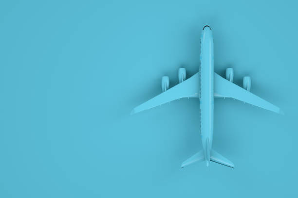 Airplane Blue, Minimal Travel Concept stock photo