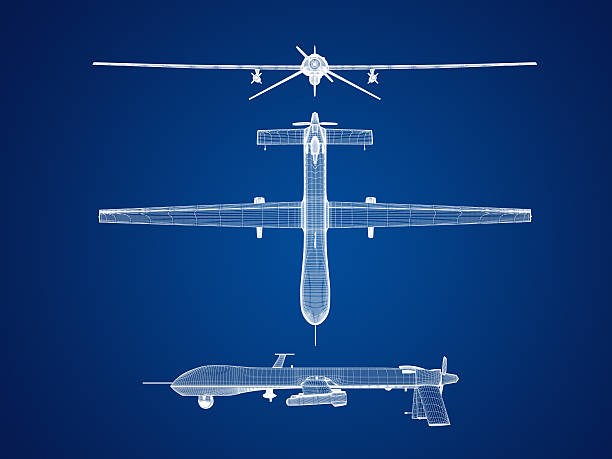 UAS airplane blueprint graphic stock photo