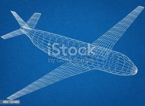 istock Airplane Blueprint 465733460
